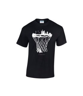 Frankfurt skyline basketball shirt schwarz  - bballurtown