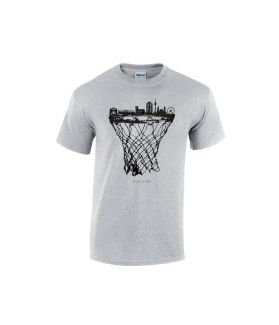 munich skyline basketball shirt grau - bballurtown