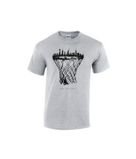 new york city skyline basketball t-shirt grau - bballurtown