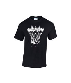 new york skyline basketball shirt schwarz - bballurtown