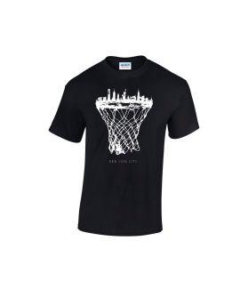 new york skyline basketball shirt schwarz - bballurtown
