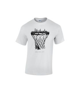 new york city skyline basketball shirt weiß  - bballurtown